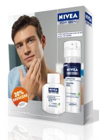 Pachet Nivea Men Gel Ras Ten Sensibil 200ml + Balsam dupa Ras Ten Sensibil 100ml